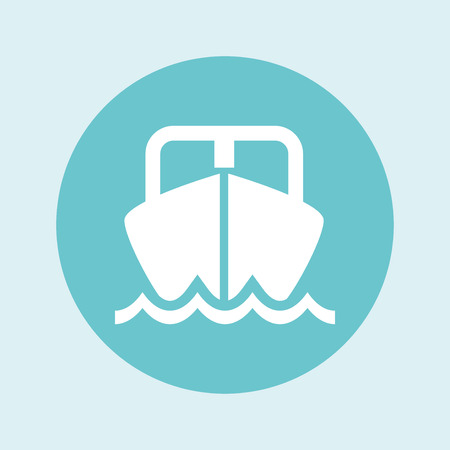 Vector yacht icon. Yacht silhouette on white background. Blue speed boat symbol. Ship logo. All in a single layer. Vector Illustration.