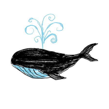 Whale hand painted illustration isolated on white background. Realistic underwater animal art. Graphical hand painted whale isolated on white background. Illustration