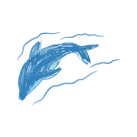 Dolphin hand painted illustration isolated on white background. Realistic underwater animal art. Graphical hand painted dolphin isolated on white background.