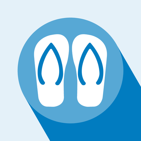 Vector Flip Flop flat icon illustration. Flip Flop Icon with long shadow. Vector. Beach slippers icon. Sandals Icon. All in a single layer. Vector illustration. Illustration