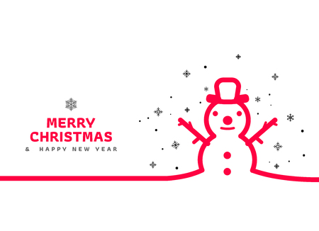 Outline happy snowman. Christmas greeting card. Minimal Christmas abstract background. Vector illustration. Snowman with text. Christmas card with line style.