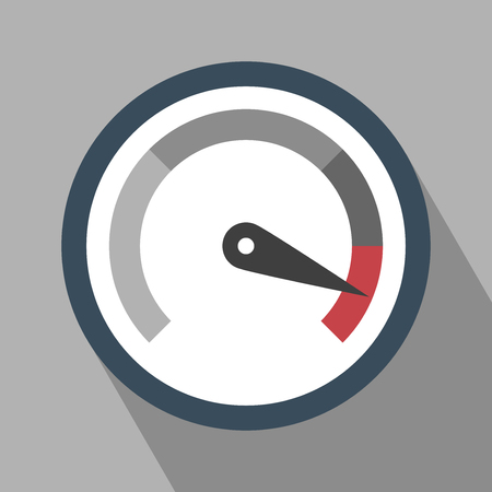 Gauge Icon. Gauge Icon vector isolated on Gray background. Gauge Icon with Long Shadow. Vector icon speedometer. All in a single layer. Flat design style. Vector illustration. Elements for design. Ilustracja