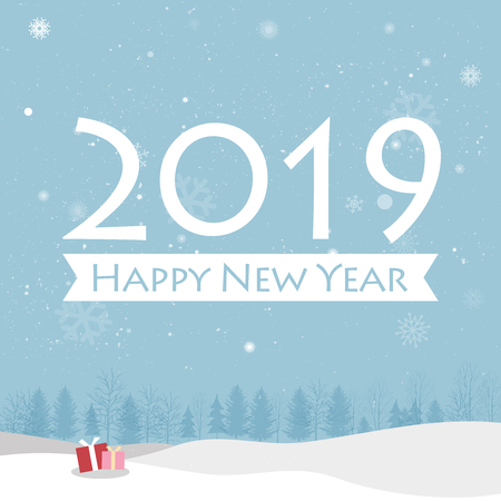 Happy New Yea greeting cards on blue background. Creative happy new year 2019 design. EPS 10 vector illustration for design. All in a single layer. Vector illustration. Illustration
