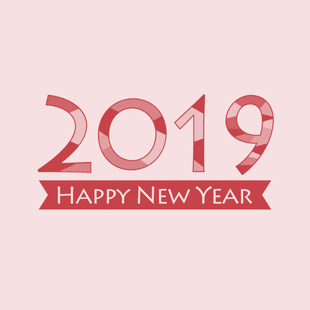 Creative happy new year 2019 design. EPS 10 vector illustration for design. All in a single layer. Vector illustration. Happy New Year 2019 on red background.