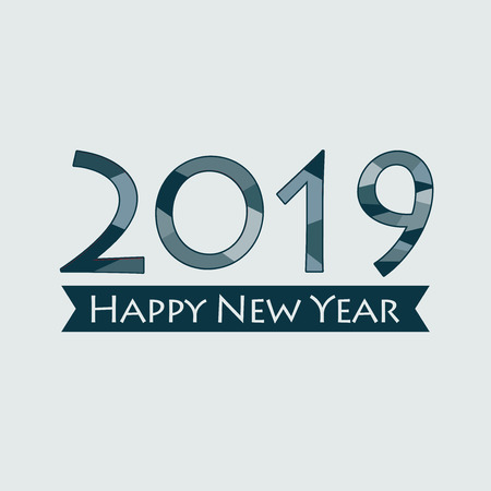Creative happy new year 2019 design. EPS 10 vector illustration for design. All in a single layer. Vector illustration. Happy New Year 2019 on blue background.