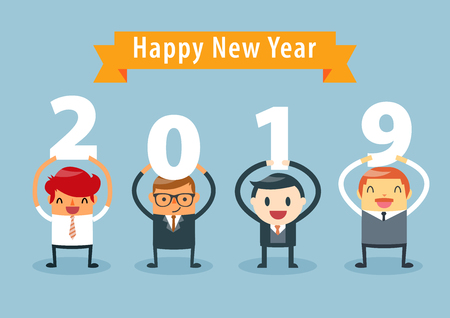 Businessmen holding 2019 letters, New year vector illustration. happy new year concept. Ilustracja