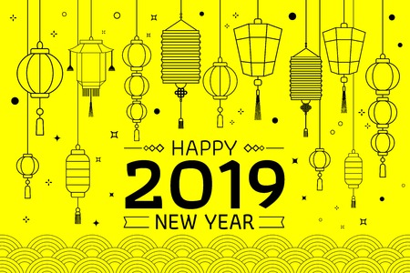 Oriental Happy Chinese New Year 2019. Chinese New Year lettering and Chinese New Year decorative elements. All in a single layer. Vector illustration. Yellow Background. Ilustracja