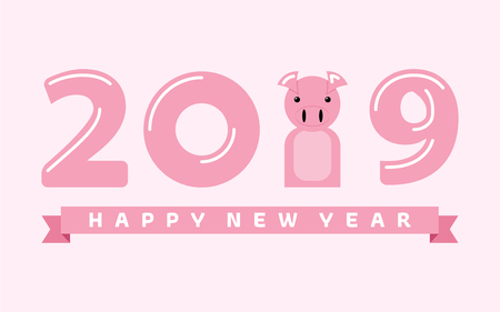 Happy New Year 2019. Cute pink pig. Chinese symbol of the 2019 year. Year of the PIG. Excellent festive gift card. Vector illustration on pink background. Ilustrace