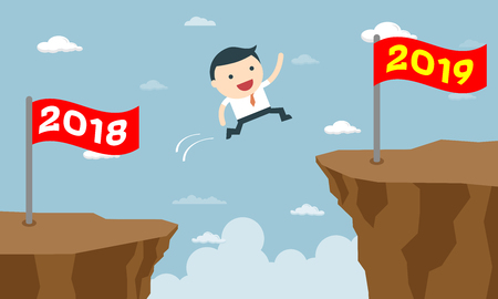 Happy business people jumping from year 2018 to new year 2019. success business concept vector illustration. Creative concept. Vector illustration