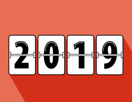 Happy new year 2019 flip clock style. Happy New Year 2019 scoreboard vector illustration. Mechanical clock on digits board panel in flat style. All in a single layer. Vector Illustartion. Elements for design.