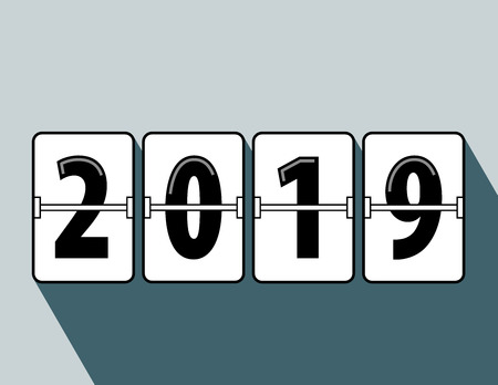 Happy new year 2019 flip clock style. Happy New Year 2019 scoreboard vector illustration. Mechanical clock on digits board panel in flat style. Blue Background. Vector Illustartion. Elements for design.