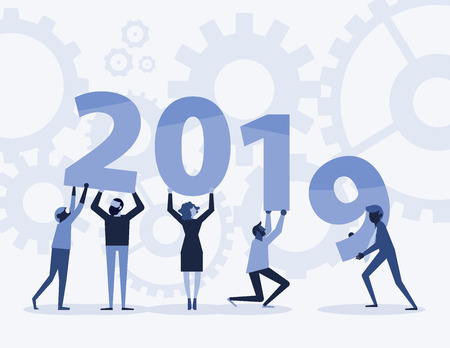 Happy new year 2019 text hold by team in flat style design illustration. new year 2019 illustration on blue background. Creative concept. Vector illustration. Teamwork graphic design.