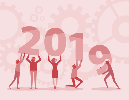 Happy new year 2019 text hold by team in flat style design illustration. new year 2019 illustration on red background. Creative concept. Vector illustration. Teamwork graphic design.