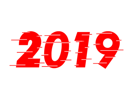 Happy new year 2019 red text design. Dynamic vector unusual number. Speed moving greeting. White Background. Speed style font. vector illustration.