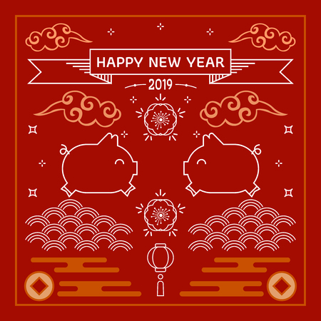 2019 year of pig greeting card template. Cute cartoon pig with Chinese new year. Chinese new year. All in a single layer. Vector illustration. Red background.