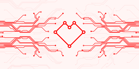 Circuit board heart symbol. Valentines day vector card. Abstract digital illustration of microchip board on heart shape on pink background. All in a single layer. Vector illustration.