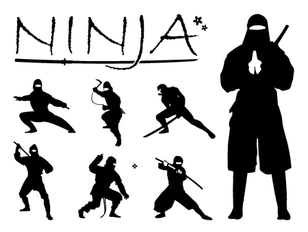 Set of Ninja Silhouette vector illustration, Ninja Weapon silhouette. Ninja Japanese warrior silhouettes. All in a single layer. Vector illustration.