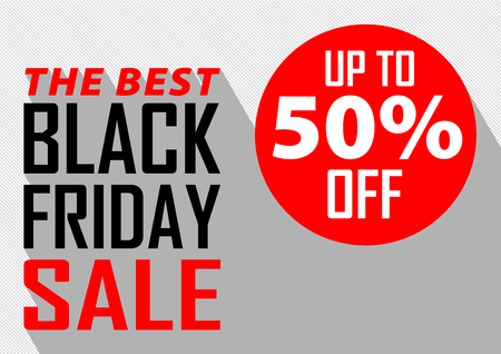 Black friday sale banner layout design. Sale poster of black friday. Type design with long shadow. All in a single layer. Vector illustration. Ilustração