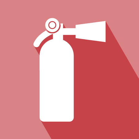Fire Extinguisher Icon. Fire Extinguisher Icon with Long Shadow. Fire Extinguisher Icon on red background. All in a single layer. Fire Extinguisher Icon Vector illustration. Fire Extinguisher Icon Elements for design.