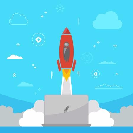 Flat design modern vector illustration concept of new business. Startup concept. Rocket launch business startup background.