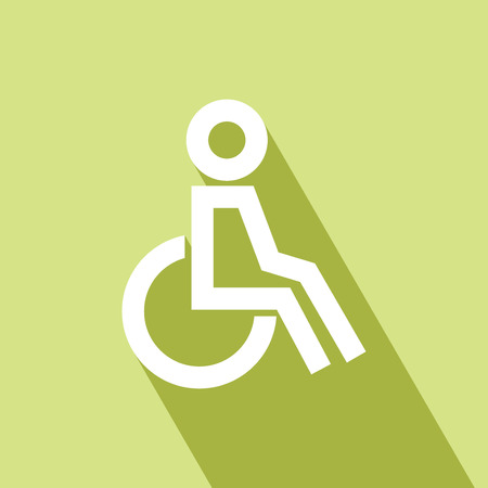 Disabled on wheelchair icon, outline vector illustration. Disabled wheelchair icon. Disable symbol logo. Disable Icon with Long Shadow. Disable Icon on green background. All in a single layer. Vector Illustration.