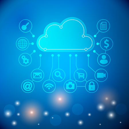 Cloud Computing concept background with a lot of icons. Cloud technology. Cloud computing technology abstract scheme illustration. Vector illustration.