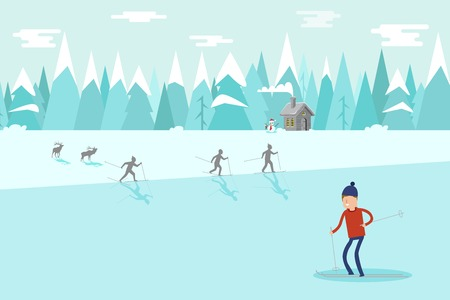 Winter christmas landscape with cartoon house and Seasons Greetings. Winter Mountains landscape with hills. Ilustração