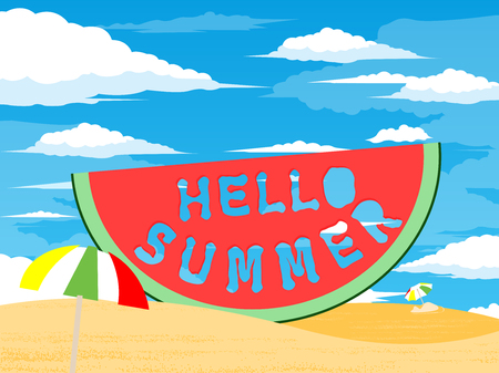 Watermelon slice with text Hello Summer. Summertime concept. Vector illustration. All in a single layer.