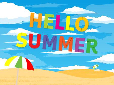 Hello Summer Typographical Background With Beach. Beautiful background with sea landscape. Vector illustration. Holiday backdrop. Summertime concept. Vector illustration. All in a single layer. Ilustração
