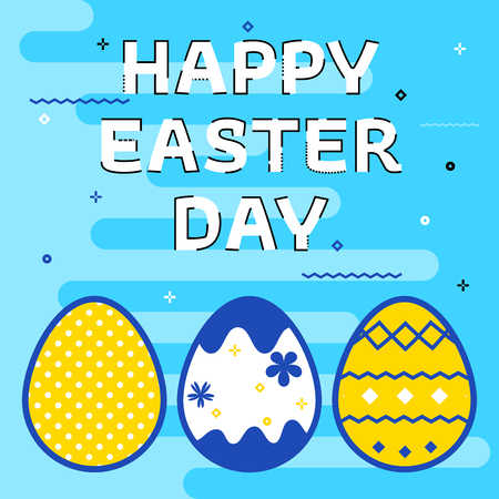 Happy Easter greeting card with colored eggs. Thin line flat design. Happy Easter greeting card with eggs on blue background. Vector banner.