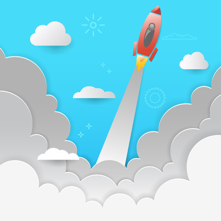 Rocket Startup Business Design Concept paper art style. Rocket launch. Vector illustration. Ilustração