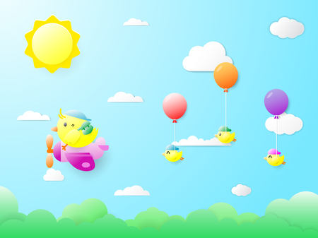 Baby birds, colorful balloons, floating on the mother bird On the day that the bright sky and the sun shone brightly. Birds in paper art. Vector illustration.