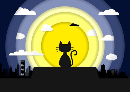 Cat sitting on a roof background of the moonlight Paper Art. All in a single layer. Vector illustration. Black cat on roof with moon town and starry night in the background.