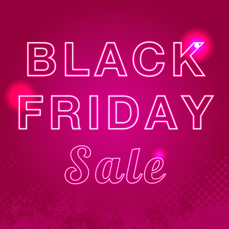 Black friday sale illustration. Advertising design. Glowing neon black friday sign. Vector illustration. Concept of advertising for seasonal offer with glowing neon text.