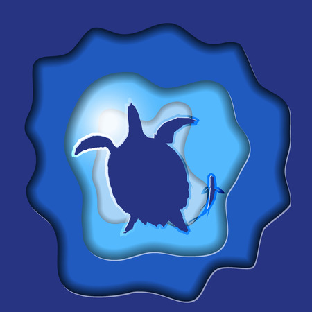 Turtle Vector Silhouettes with Fish on Blue Background Paper Art. Save The Earth. Vector illustration. All in a single layer. Ilustração