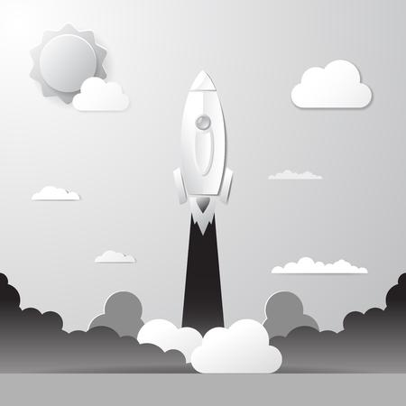 White paper startup rocket concept vector illustration. Rocket Startup Business Design Concept paper art style. Rocket launch. Vector illustration. Ilustração