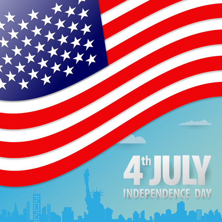 Happy independence day United States of America, 4th of July.Paper cut design.  All in a single layer. Vector illustration. vector illustration for design. Ilustracja