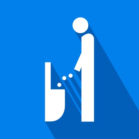 Man Lavatory Icon. Men Rest Room Sign. Toilet for Gents Symbol Vector. Men Toilet Sign vector image. Man Lavatory Icon with Long Shadow.