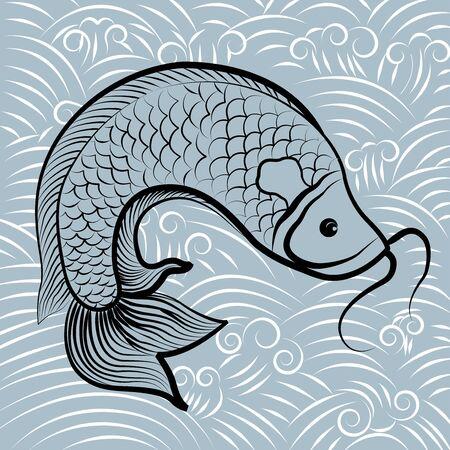 koi fish wave water circles japanese chinese vector design pattern. Hand drawn of fish isolated. Koi fish. Chinese carps.  イラスト・ベクター素材