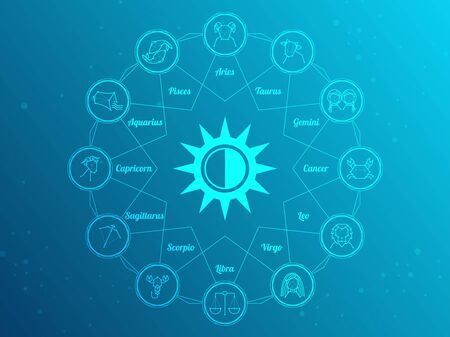 Zodiac circle with astrology symbols. Representation of star signs for astrology horoscope. Zodiac calendar on universe backdrop. Astrology constellation vector illustration.
