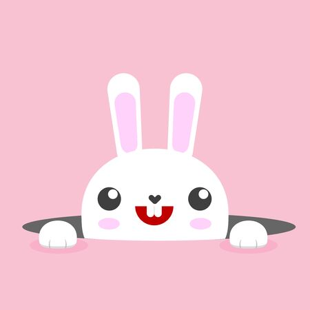 White easter rabbit. Easter Bunny. Pink background. Vector illustration. Elements for design. All in a single layer. Ilustracja