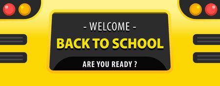 Back to school concept. Yellow school bus back view flat illustration. Back to school yellow background. vector art and illustration.