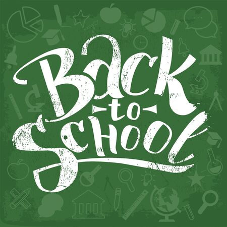 Back to School Typographical Background On Chalkboard With Icon Elements. Vector illustration.