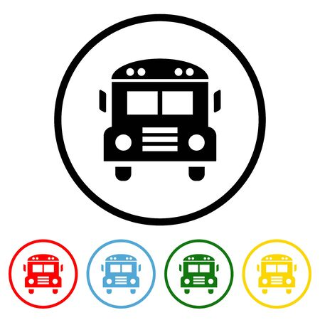 School bus icon vector bus illustration design element with four color variations.  Vector illustration. All in a single layer. Elements for design.