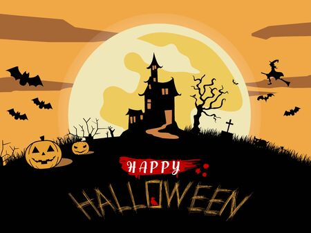 Happy Halloween poster with creepy castle. Halloween , Mix of Various Spooky Creatures, Moon and Castle, Vector Illustration.