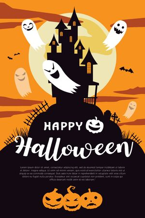 Happy Halloween Background with full moon and house. Halloween background with ghost and the moon. Happy Halloween Poster. All in a single layer. Vector illustration. 向量圖像