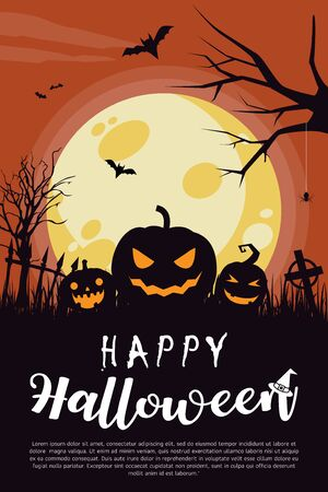 Happy Halloween Poster. Halloween card with a pumpkins. Vector illustration. All in a single layer. Elements for design.