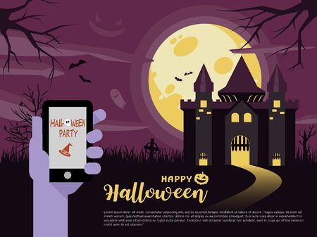 Halloween Night Party. Vector illustration of smart phone. Halloween coordinates the work of smart phones. Phone screen with Pumpkin message. All in a single layer. Vector illustration.