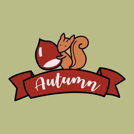Cartoon funny squirrel holding pine cone. Cute squirrel cartoon holding nut. All in a single layer. Vector illustration.
