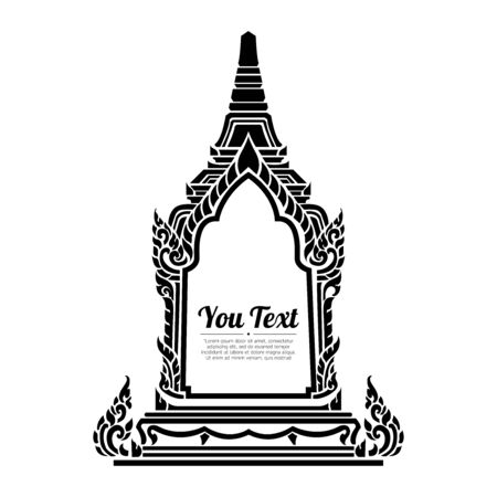 Graphic Design Thai Art Ornament, for Frame, Background and Decorative.  Thai art element for design. Ornamental vintage frame for wedding invitations and greeting cards.